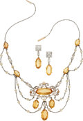 Estate Jewelry:Suites, Edwardian Topaz, Diamond, Pearl, Platinum, Gold Jewelry Suite. ...(Total: 2 Items)