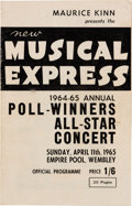 Music Memorabilia:Memorabilia, Beatles - New Musical Express 1964-65 Poll-Winners All-Star Concert Program (1965)....