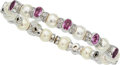 Estate Jewelry:Bracelets, Pink Sapphire, Diamond, Cultured Pearl, White Gold Bracelet . ...