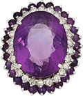 Estate Jewelry:Rings, Amethyst, Diamond, White Gold Ring . ...