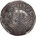 Colonials, 1652 6PENCE Oak Tree Sixpence, IN on Obverse -- Damage -- PCGS Genuine. AU Details. Noe-12, W-400, Salmon 2a-B, R.5....