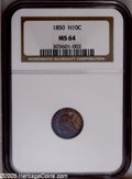 Seated Half Dimes: , 1850 H10C MS64 NGC. Sharply struck with variegated cobalt-blue anddeep crimson toning on the obverse, the reverse is much ...