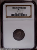 Early Dimes: , 1805 10C 4 Berries Fine 12 NGC. JR-2, R.2. Deeply toned in duskylavender-gray and aqua-blue colors. Nicely detailed on the...