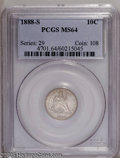 Seated Dimes: , 1888-S 10C MS64 PCGS. Dashes of tan toning visit this lustrous andboldly struck near-Gem. An attractively preserved exampl...