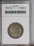 Bust Quarters: , 1819 25C Large 9 AU50 ANACS. B-1, R.5. Curl over right side of 1; Flat based 2, scroll begins left of D. The smooth, olive-...