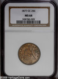 Seated Quarters: , 1877-CC 25C MS64 NGC. Mottled golden-brown, rose, and apple-greencolors embrace the obverse. The reverse exhibits more sub...