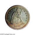 Proof Seated Quarters: , 1868 25C PR65 PCGS. Orange, sea-green, gold, ocean-blue, and mauvecolors dominate this needle-sharp Gem. A spot on the rig...