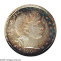 Proof Barber Quarters: , 1901 25C PR68 NGC. Vivid bands of electric-blue, ruby-red, and straw-gold color hug the borders, but cede to a window of br...