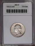 Washington Quarters: , 1932-D 25C MS61 ANACS. This key date Washington quarter boasts thesecond lowest mintage (436,800 pieces) of the entire ser...