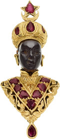 Estate Jewelry:Brooches - Pins, Ruby, Ebony, Gold Brooch, Nardi. ...