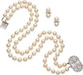 Estate Jewelry:Suites, Cultured Pearl, Diamond, Platinum, White Gold Jewelry. ... (Total:2 Items)