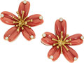 Estate Jewelry:Earrings, Coral, Diamond, Gold Earrings, Aletto Bros. . ...