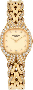 Estate Jewelry:Watches, Patek Philippe Lady's Diamond, Gold La Flamme Watch. ...
