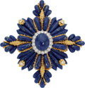 Estate Jewelry:Brooches - Pins, Lapis Lazuli, Diamond, Gold Enhancer-Brooch, Robert Wander, French . ...