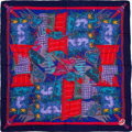 "Luxury Accessories:Accessories, Hermes 140cm Blue & Red ""Etendards et Banniers,"" by AnnieFaivre Silk and Cashmere Scarf. Excellent Condition. 55""Wid..."