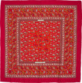 "Luxury Accessories:Accessories, Hermes 140cm Red & Beige ""Chasse en Inde,"" by Michel Duchene Silk and Cashmere Scarf. Excellent Condition. 55"" Width x 55""..."