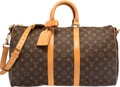 "Luxury Accessories:Travel/Trunks, Louis Vuitton Classic Monogram Canvas Keepall 45 Bandouliere Bag.Very Good Condition. 17"" Width x 11"" Height x 7"" Depth..."