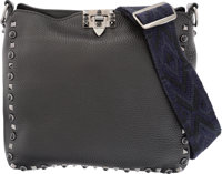 """Valentino Black Leather Rockstud Crossbody Bag Excellent to Pristine Condition 10"""" Width x 10"""" Height x 2.5&qu..."""