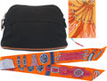 "Luxury Accessories:Accessories, Hermes Set of Three; Black Toile Officier Canvas & Orange SilkAccessories. Very Good Condition. 6"" Width x 4.5"" Height x ...(Total: 3 Items)"