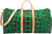 Louis Vuitton Limited Edition Green Dot Monogram Canvas Infinity Dots Keepall 55 Bag by Yayoi Kusama Pristine C