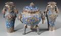 Asian:Chinese, A Three-Piece Imperial Chinese Silver Filigree and Enamel Altar Set: Two Vases and a Censer, Qing Dynasty, Qianlong Period, ... (Total: 3 Items)