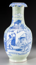 Asian:Chinese, A Chinese Celadon-Glazed Vase with Ruyi-Head Rim and Underglaze Blue and White Slip Decoration Depicting Figures in a Garden P...