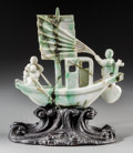 Asian:Chinese, A Chinese Carved Jadeite Boat Group on Carved Wood Stand, late Qing Dynasty. 7-3/8 inches high (18.7 cm) (boat). 9-1/2 inche... (Total: 2 Items)