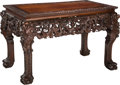 Asian:Chinese, A Chinese Carved Hardwood Salon Table. 29-1/2 h x 46 w x 26-1/2 dinches (74.9 x 116.8 x 67.3 cm). ...