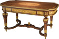 Furniture : French, A Louis XVI-Style Mahogany, Marquetry, Parquetry, and Gilt-BronzeMounted Salon Table with Hidden Drawer, 19th century. 29-3...
