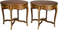 Furniture : French, A Pair of Louis XVI-Style Parquetry and Gilt Bronze Salon Tables,21st century. 30-1/2 inches high x 35 inches diameter (77....(Total: 2 Items)
