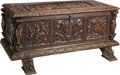 Furniture : Continental, An Italian Renaissance-Style Carved Oak Cassone, late 19th c.. 22 h x 46-3/4 w x 24-1/4 d inches (55.9 x 118.7 x 61.6 cm). ...