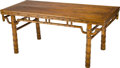 Furniture , A Chinese Carved Wood Table with Bamboo Motif. 33-1/2 h x 78-1/2 w x 33 d inches (85.1 x 199.4 x 83.8 cm). ...