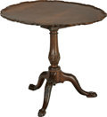 Furniture , An English Chippendale Carved Mahogany Tilt Top Tea Table, late 18th century, pie crust top with birdcage mechanism below. 3...
