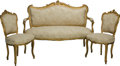 Furniture : French, A Three-Piece Louis XV-Style Giltwood Salon Suite. 39 h x 58 w x22-1/2 d inches (99.1 x 147.3 x 57.2 cm). 36 h x 19-1/4 w x...(Total: 3 Items)