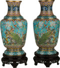 Asian:Chinese, A Large Pair of Chinese Cloisonné Vases with Stands. 30-1/2 incheshigh (77.5 cm) (without stands). ... (Total: 2 Items)