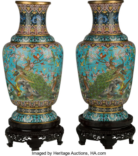 A Large Pair Of Chinese Cloisonn Vases With Stands 30 12 Lot