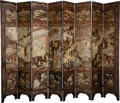 Asian:Chinese, A Chinese Lacquered Eight-Panel Screen. 82 x 15-1/4 inches (208.3 x38.7 cm) (each, panel). ...