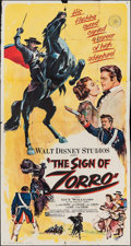 "Movie Posters:Adventure, The Sign of Zorro (Buena Vista, 1960). Three Sheet (40.5"" X 78.5"").Adventure.. ..."