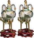 Asian:Chinese, A Pair of Chinese Cloisonné Triple Crane Censers on Stands. 28-3/4 inches high (73.0 cm) (excluding stands). 33-3/4 inches h... (Total: 8 Items)