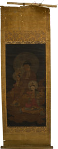 Asian:Japanese, Japanese School . Deities on Clouds. Ink and watercolor onsilk and paper scroll. 29-3/4 x 14-1/2 inches (75.6 x 36.8 cm...