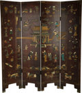 Asian:Chinese, A Chinese Lacquered Four-Panel Screen. 71 x 16-1/2 inches (180.3 x41.9 cm) (each panel). ...