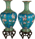 Asian:Chinese, A Pair of Monumental Chinese Cloisonné Vases. 38 inches high (96.5cm) (vase, each). ... (Total: 2 Items)