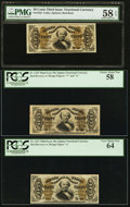 Fractional Currency:Third Issue, 50¢ Spinner Red Back Trio.. ... (Total: 3 notes)