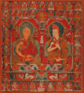 Asian:Other, A Tibetan Thangka Depicting Two Abbots, possibly 13th century. 36inches high (91.4 cm). PROVENANCE:. Property of a New Yo...
