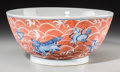Asian:Chinese, A Large Chinese Copper Red and Blue Glazed Porcelain Bowl, QingDynasty. Marks: Six-character Xuande mark in blue underglaze...