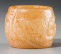 Asian:Chinese, A Very Fine and Rare Chinese Carved White and Russet NephriteArcher's Ring with Chilong Motif, Ming Dynasty. 1 inch high x ...