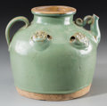 Asian:Chinese, A Chinese Celadon Glazed Earthenware Ewer, Yuan-Ming Dynasty. 7-3/4inches high (19.7 cm). ...