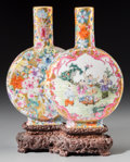 Asian:Chinese, Fine Chinese Famille Rose Fencai Porcelain Conjoined MoonFlask Vases with Original Carved Rosewood Dragon and Pea...