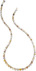 Estate Jewelry:Necklaces, Multi-Colored Diamond, Platinum Necklace. ...