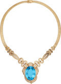 Estate Jewelry:Necklaces, Blue Topaz, Diamond, Gold Necklace . ...